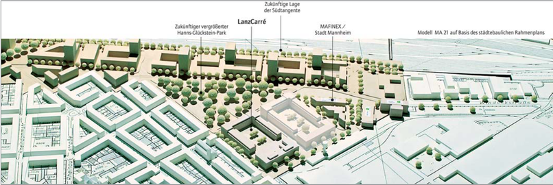 LanzCarré gerenderter Übersichtsplan mit Umgebung