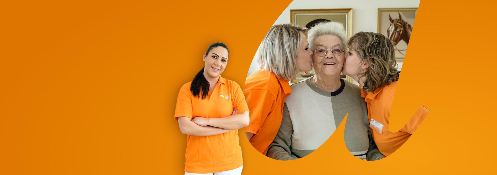 Berufsbild Altenpflege, zwei Pflegerinnen küssen eine Bewohnerin auf die Wangen.