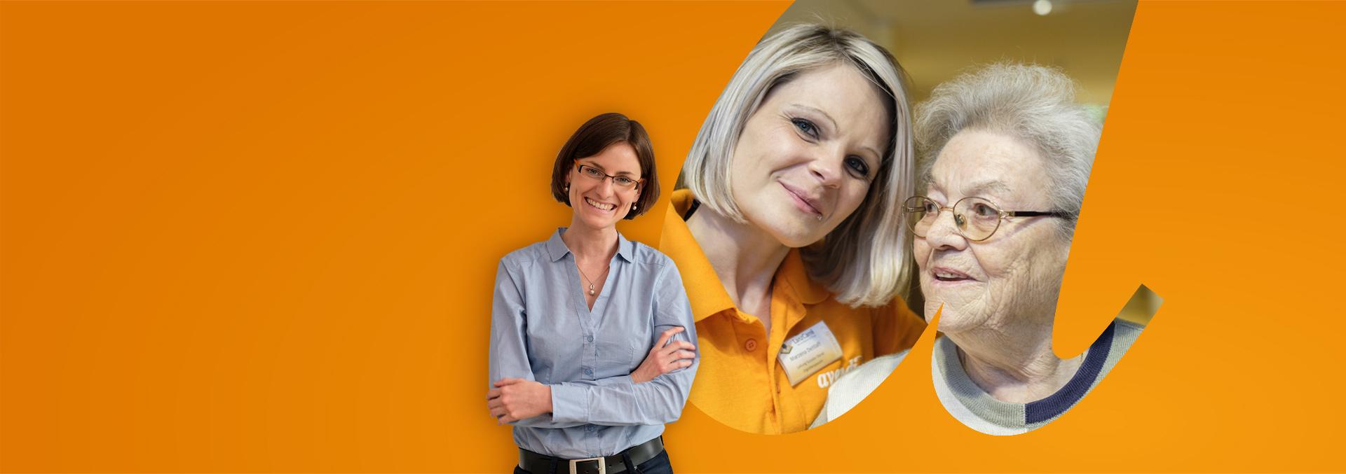 Slider Karriere; vorankommen bei avendi. Pflegekraft und Bewohnerin Seite an Seite, im Vordergrund Fr. Sabrina Klass aus der Verwaltung.