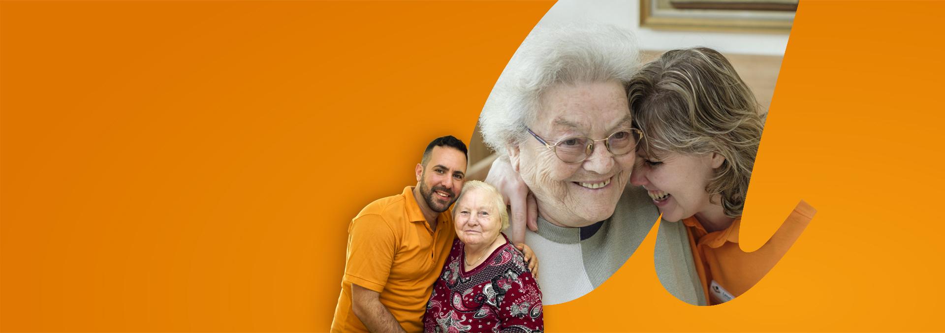 Slider Karriere, Wertschätzung bei avendi; Pflegekräfte und glückliche Bewohnerinnen Seite an Seite.