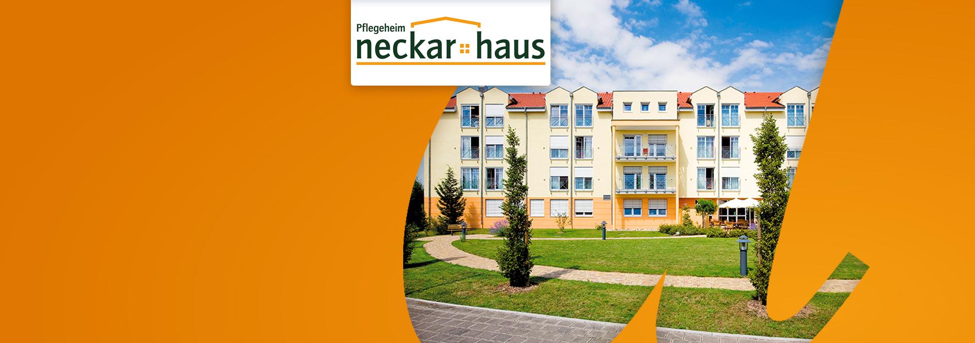 Blick auf das Pflegeheim Neckarhaus, Parkanlage mit einigen jungen Bäumen und gepflastertem geschwungenem Weg.