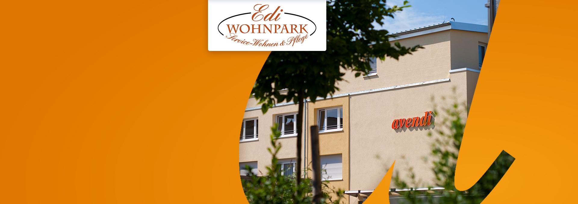 Service-Wohnen und Pflege Edi-Wohnpark: Blick auf die Hauswand mit dem avendi-Logo