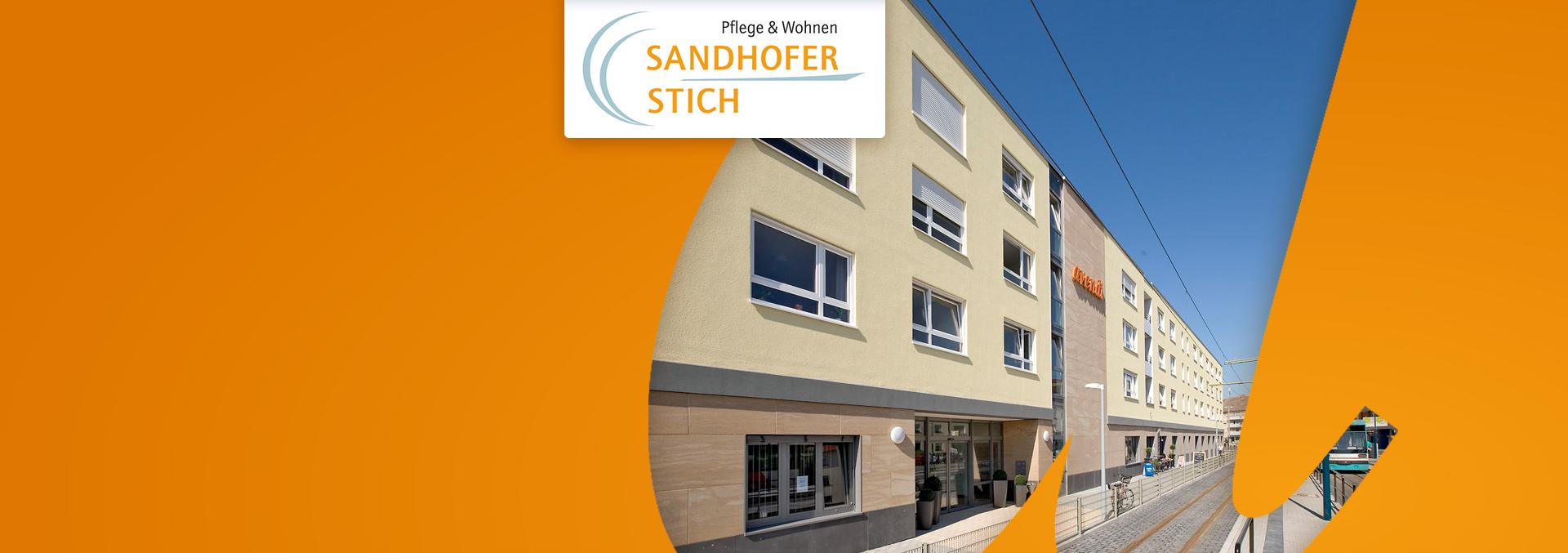 Pflege und Wohnen Sandhofer Stich: Blick auf den Eingang, die Straßenbahn hält in unmittelbarer Nähe.