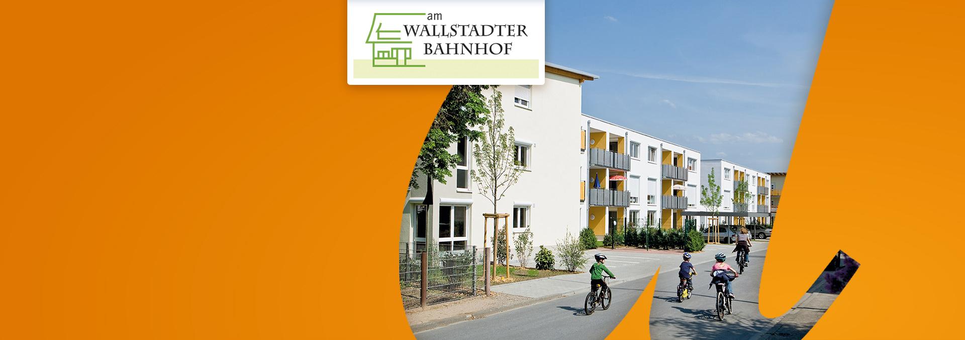 Pflegeeinrichtung Service-Wohnen AM WALLSTADTER BAHNHOF von außen, Kinder fahren auf Fahrrädern ihrer Mutter hinterher.