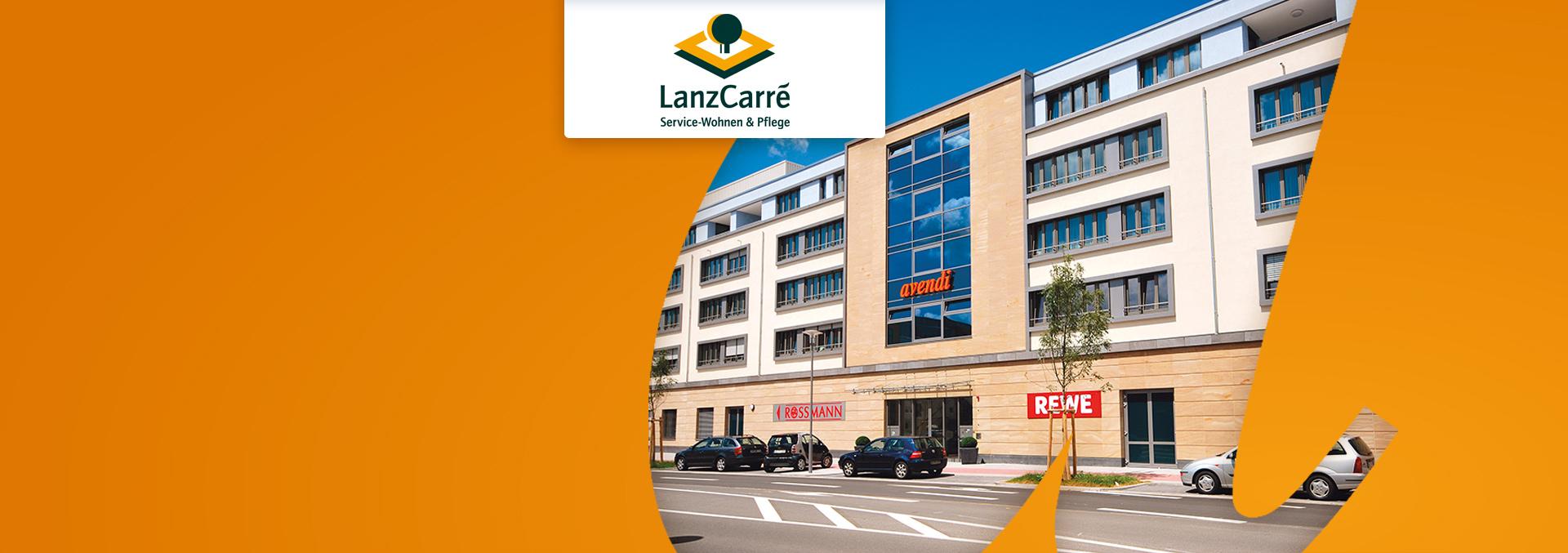 Service-Wohnen und Pflege LanzCarré Außenansicht, Eingangsbereich.