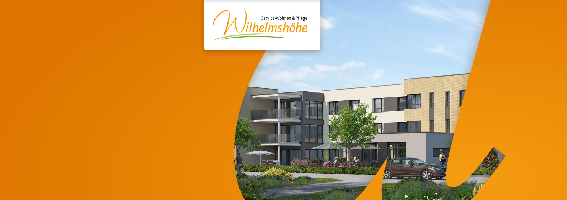 Vorschaubild für das Fachpflegezentrum Wiesloch Wilhelmshöhe: Dreistöckiges Gebäude in Grünanlage.