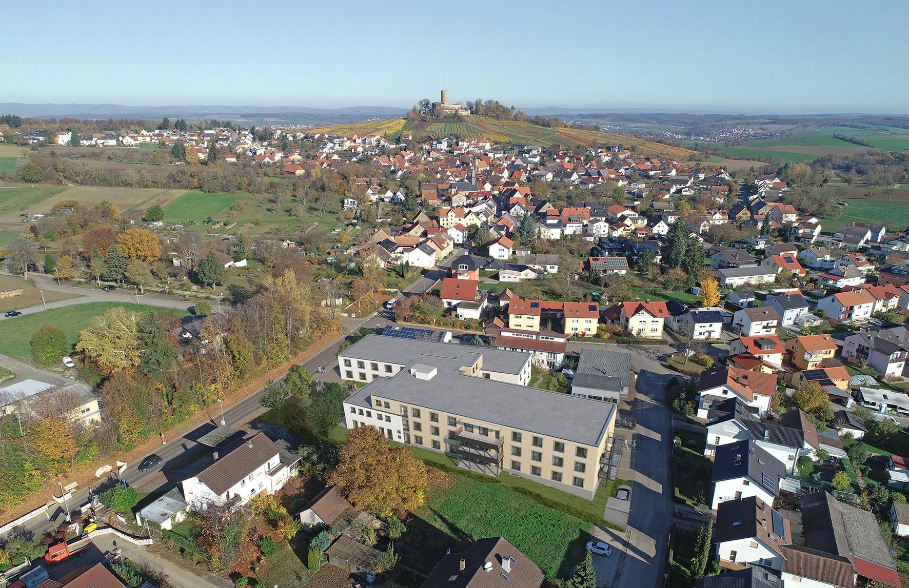 Blick über Sinsheim-Weiler und Lage der Pflegeeinrichtung Pflege AM STEINSBERG